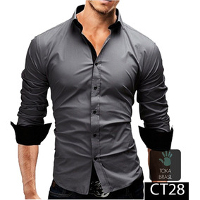 5141404930 Camisa Slim Fit Branca - Camisa Social Manga Longa Masculino Cinza ...