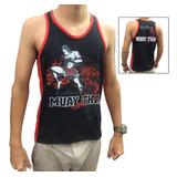 Camiseta Regata Muay Thai Jumping Knee - Malha Pv - Toriuk