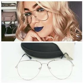5bb8c0ac86f8c Armação Para Óculos De Grau Aviador Prata Retrô Vintage - Óculos no ...