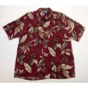 Camisa Hawaiana Tropical Floreada Surf Bordo Talle L 581