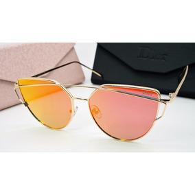 571cacb134f44 Óculos Espelhado Feminino Dourado Gato Gatinho Metal Redondo
