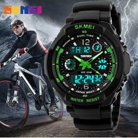 Relógio Skmei 0931 Original Resistente A Shock Preto E Verde