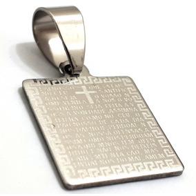 Pingente Placa Oração Pai Nosso Masculino Aço Cirúrgico Inox