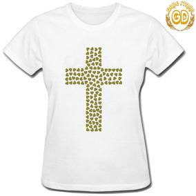 Camiseta Gospel Evangélica Feminina Cruz De Coração 1 c7a825bbce3