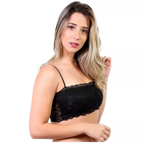Top Faixa Com Bojo Renda Blogueira Cropped Feminino Curto