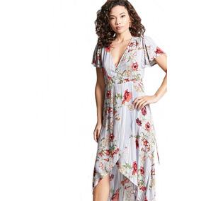 Maxi Vestido Largo Asimetrico Flores Forever 21 Moda Verano