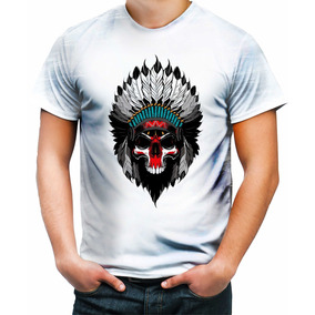 Blusa Estampa Indio Caveira - Camisetas Manga Curta para Masculino ... a3e9158e0aa