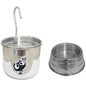 Bebedouro P/ Gato Tipo Fonte Em Alumínio + Brinde Comedouro