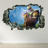 Vinilo Decorativo Fortnite Juegos Gamer Thanos Pared Rota