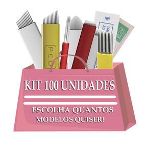 Kit 100 Lamina Tebori Microblading 9,7,1214 Pontas Hard Flex