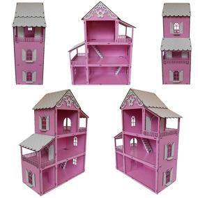 Casinha Boneca Rosa Casa Polly+27moveis Moderninhos