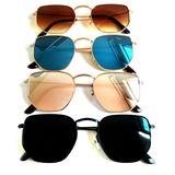 Óculos De Sol Hexagonal Feminino Proteção Uv Verão 2019 4314d69027