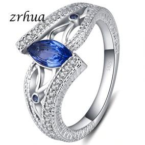Anel Feminino 925 Prata Esterlina, Com Pedras Azuis, Verdes
