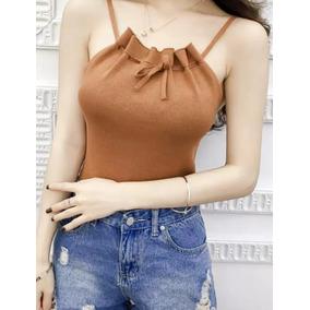 5f9102a8556 Top blusa Tirantes Punto Con Cintas Para Moño.   349