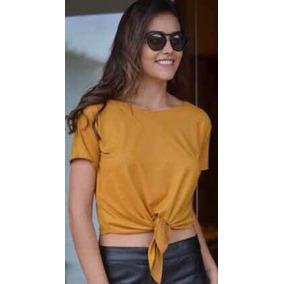 Blusa Blusinha Suede Camiseta Baby Look T-shirt Feminina