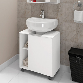 Gabinete Armário Banheiro Para Pia De Coluna Pequin Branco
