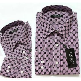Genial Camisa Caballero Gucci Hombre Collage Logo Morado