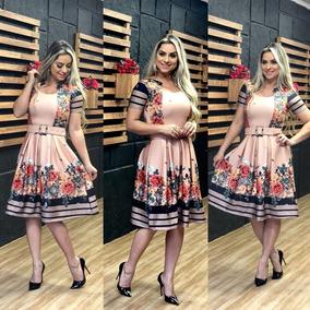 Vestido Midi Godê Cinto Estampado Floral Moda Evangélica Zm