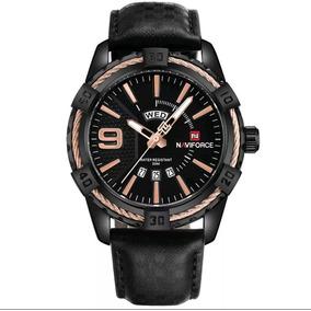 Relógio Naviforce 9117 Masculino Social Preto Dourado Couro