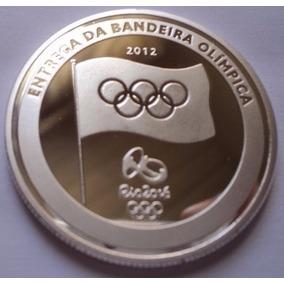 Moeda Entrega Bandeira Olimpica Medalha Banhada Prata -copia