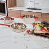 Bateria Cocina Acero Inoxidable Coraza Roja 7 Pz Magefesa Ms