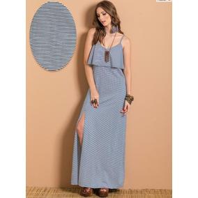 ff35d4f4a Vestido Longo Em Malha De Algodão Azul Tam. G - Calçados
