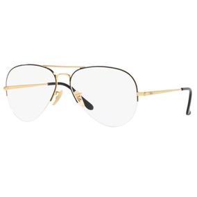 7873ba1248148 Armação Oculos Grau Ray Ban Rb6589 2946 59mm Preto Dourado. R  339