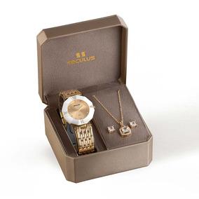 Seculus Kit Relógio Seculus Feminino Analógico Dourado 23529