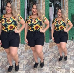 Shorts Feminino Plus Size Com Amarração Coleção Nova