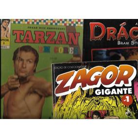 Lote 03 Gibis Raros: Tarzan Nº 08- Drácula Esp E Zagor Nº 01