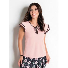 Blusa Feminina Rosa Gola Amarração Modelo Evangélica 2783308 deb317e2188