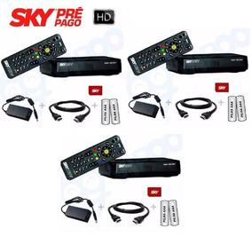 3 Receptores Sky Pré Pago Flex Hd + Habilitação Com Globo