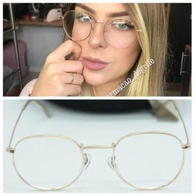 Armacao Oculos Lentes S  Grau Moda Redondo Feminino Promocao ... 22dda04f2b