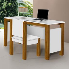 Conjunto Mesa Escrivaninha E Cadeira Branca C Pés Em Madeira