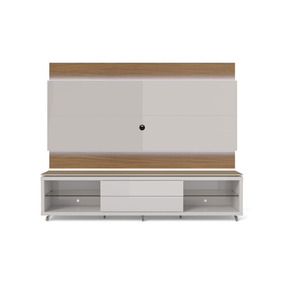 Rack Com Painel Lincoln C/ Led Off-white/natural 240cm