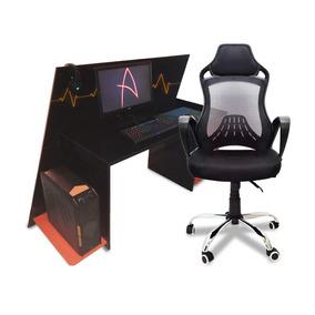 1 Cadeira Office Gamer Modelo Discreet Design Giratória