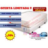 Ofertazo Base 2 Plazas + Colchón Anti Ácaros + 3 Almohadas
