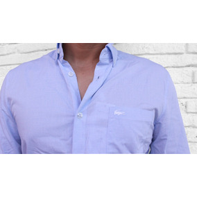 Camisa Lacoste Texturizada Regular Fit Para Hombre Azul