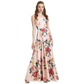Vestido Largo Floral Espalda Solo Tiras Cruzadas Eva Brazzi