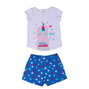 Pijama Camiseta Unicornio Blanca Y Short Azul Para Bebe Niña