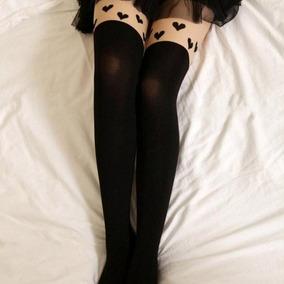Medias Calceta Over Knee Japonsa Lineas Blanco Negro Bicolor