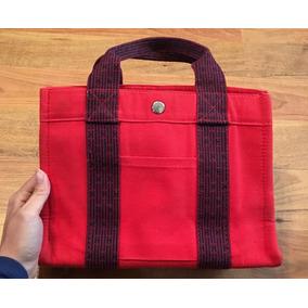 c4b6188b6ee Padrisima Bolsa Hermes Vintage Tela Tote Roja Petite Origina
