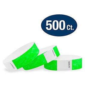Pulseras Wristco Neon Green 3/4 Tyvek - 500 Paquete De