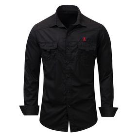 4e19e142e042d Hombres Militar Color Sólido Vez Abajo Collar Camisa Manga