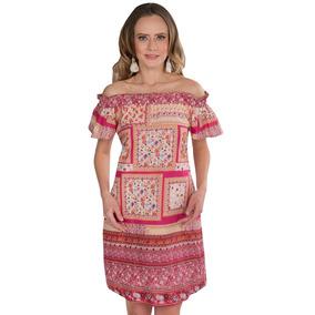 Vestidos Sin Hombros Dama Flores Estampados Rosa S91103