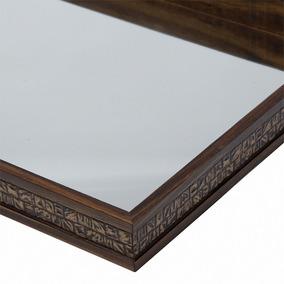Bandeja De Madeira 37cm Com Espelho Coquinho Grande Woodart