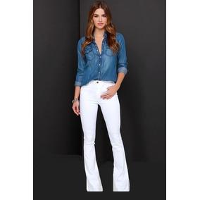 Calça Flare Branca - Calças Sarja Feminino no Mercado Livre Brasil 7cab501f388b8