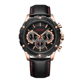 Relógio Masculino Megir 2070 Couro E Aço - Ultimas Unidades