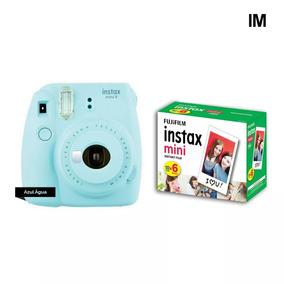 Camera Instax Fuji Mini 9 Azul Aqua + 60 Fotos+nf