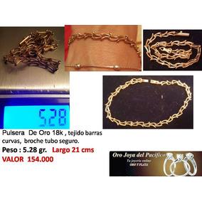 Pulsera De Oro 18k , Tejido Barras Curvas, Broche Tubo